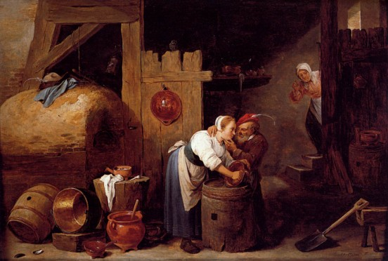 interior-scene-with-a-young-woman-scrubbing-pots-while-an-old-man-makes-advances