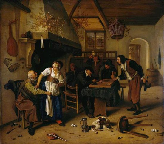 Jan Havicksz Steen 1626 1679 inn interior man and woman