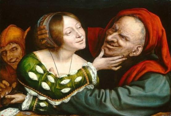 man fondling woman