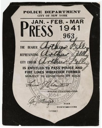 Weegee press pass D.D. Teoli Jr. A.C.